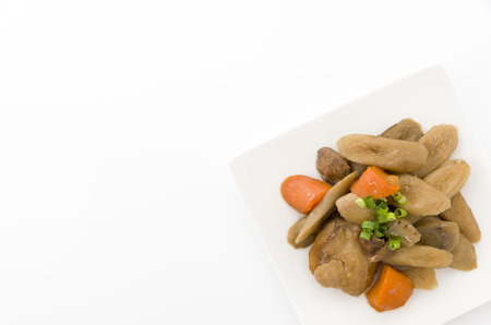 Japanese cuisine, Nimono, simmered root vegetables with chicken