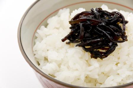 Japanese food, Konbu no Tsukudani on rice Banco de Imagens