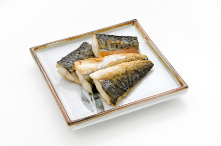 Japanese food, Saba no shioyaki, Salt-grilled Mackerel Stock fotó