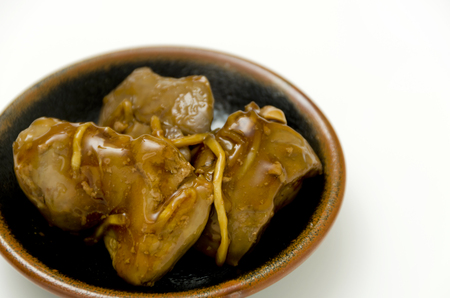 Japanese food, Toriliveramakarani, Chicken liver Seasoneted with soy sauce and suger. 版權商用圖片
