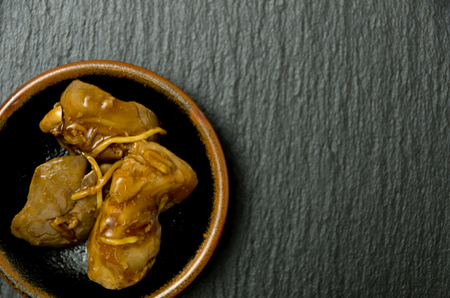 Japanese food, Toriliveramakarani, Chicken liver Seasoneted with soy sauce and suger. Imagens