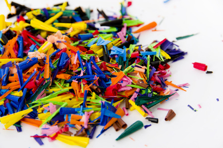 Crayons shavings  on white background