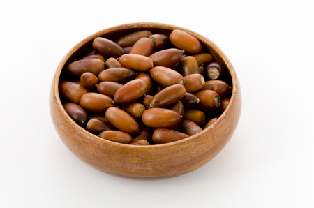 acorns in a wooden round bowl on white background Stock Photo