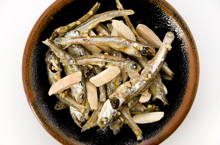 Japanese healthy snack food, almond and dried small fish.