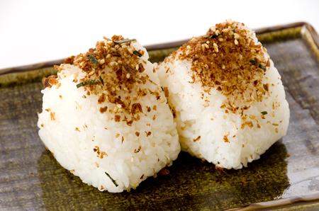 Japanese food, homemade furikake Rice ball on dish Stock fotó