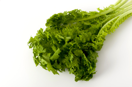 wasabi greens on white background Stock Photo