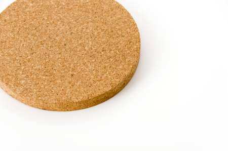 Cork coasters on white background 版權商用圖片