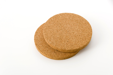 Cork coasters on white background Stock Photo
