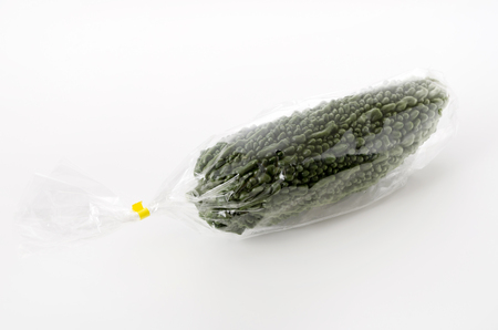 Bitter melon in Plastic bag on white background