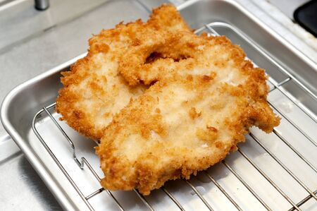 Breaded Chicken strips. Chicken tender cutlet.