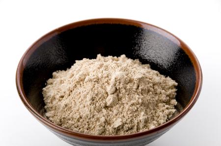 Japanisches Essen, Hattaiko oder Mugi Kogashi (Mehl aus gerösteter Gerste), ausgetrocknetes Gerstenmehl.backgroundback