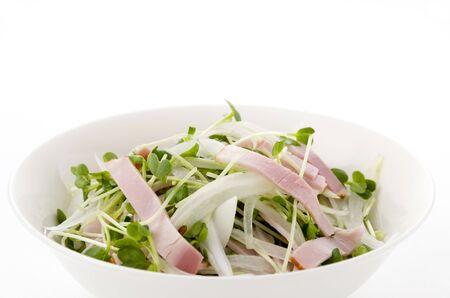 kaiware Daikon Sprouts and pork loin ham salad