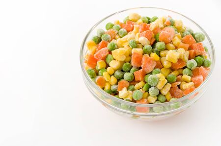 frozen mixed vegetable in Stacking bowl on white background Imagens