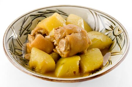 Japanese food, Nimono, simmered pig's feet and papaya