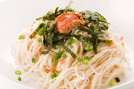 Mentaiko Somen Japanese food, Somen Noodles with Spicy Cod Roe 스톡 콘텐츠