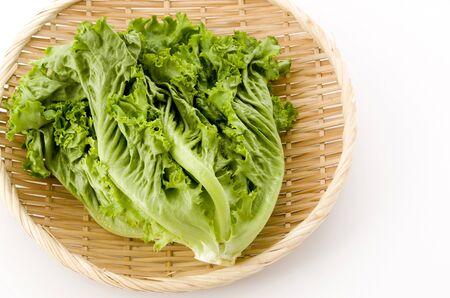Fresh green leaves lettuce on bamboo colander on white