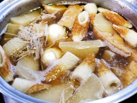 """Japanese food """"oden"""".vegetables, Chikuwa and various other articles of food with stewed in a hot thin soy soup."""