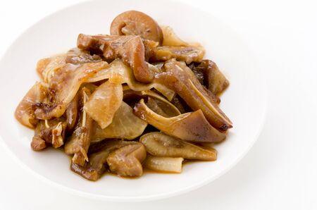 Japanese food, Okinawa cuisine, Ta-nmu(Taimo) ringaku, Boil the Taimo and peel it, it, add sugar and knead.