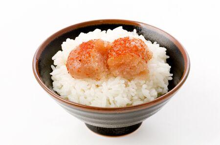 White rice and Karashi mentaiko