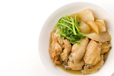 Japanese food, simmered chicken wing and radish 写真素材
