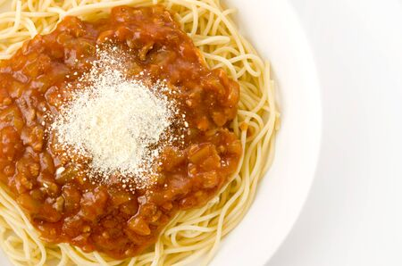 spaghetti with meat sauce on a white background
