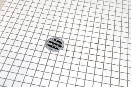 bathroom floor and bathroom drain 免版税图像