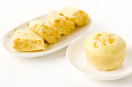 corn steamed cake on white plate on white background