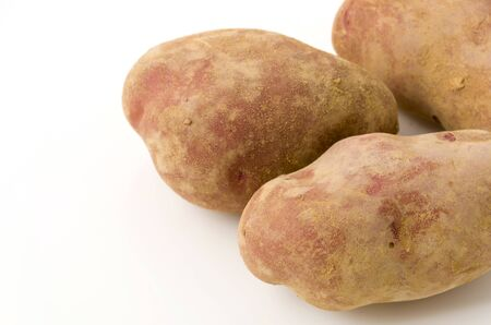 fresh red skinned potatoes with soil isolated on the white background