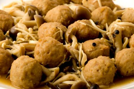 Japanese cuisine, Simmered chicken meat ball with mushroom.