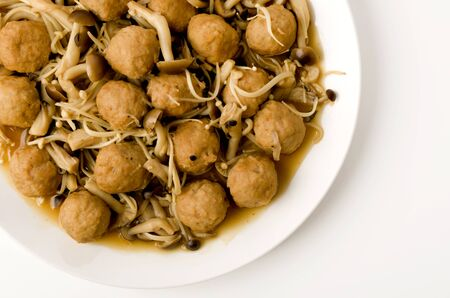 Japanese food, Simmered chicken meat ball with mushroom.