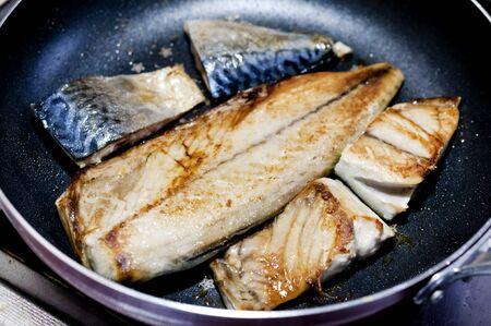 mackerel fish fried in pan