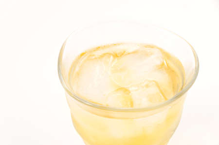 Ice lemon tea on white background