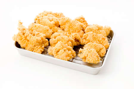 Fried chicken in Japanese cooking style called as tori tempura 版權商用圖片