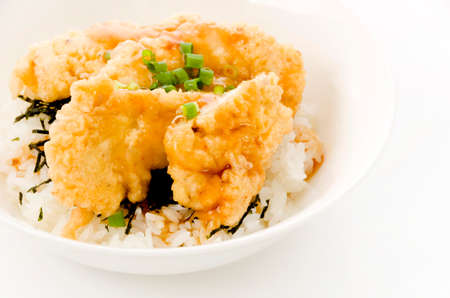 Japanese food,Toritendon is rice bowl topped with chicken tempura