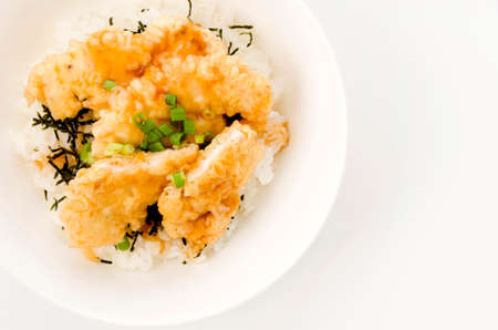 Japanese food,Toritendon is nice bowl topped with chicken tempura 版權商用圖片