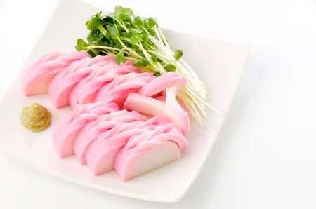 Japanese food, Sliced kamaboko with radish sprout