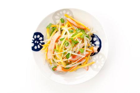 Japanese food, Aemono, Seasoned squid and vegetable 版權商用圖片 - 161217449