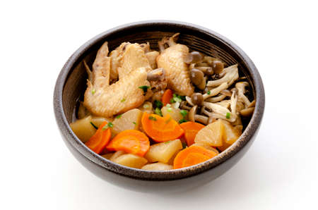 japanese food, simmered chicken wing and vegetable