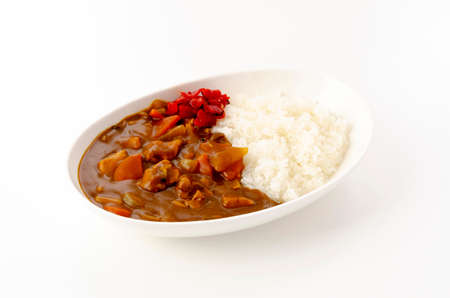 Japanese food, Chicken curry with rice Imagens