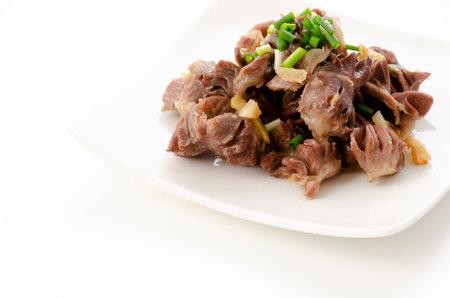 Japanese food, chicken gizzard and ginger stir fried 版權商用圖片 - 161217479