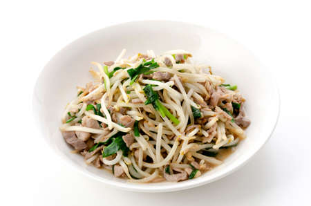 Stir-fry pork meat bean sprouts 版權商用圖片 - 161252565