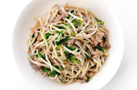 Stir-fry pork meat bean sprouts