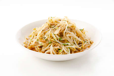Stir-fried bean sprouts on white background