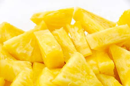 Slice of pineapple on white background Archivio Fotografico