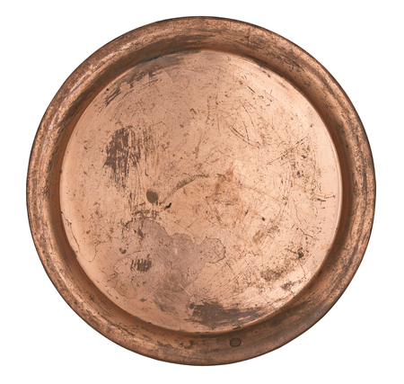 Antique metal copper plate isolated on white background. Retro style. Vintage.