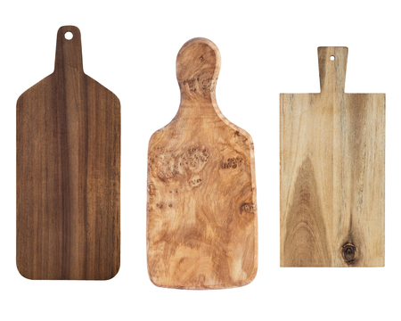 Three chopping kitchen wooden boards isolated on white background.