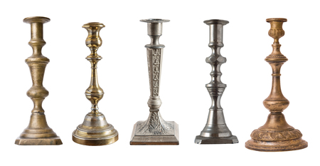 Set of vintage different candelabrum, candle stand, candlestick isolated on white background.