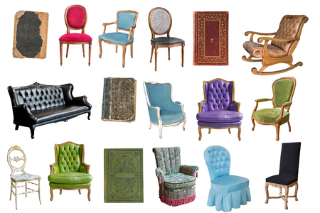 Gorgeous vintage armchairs and books isolated on white background. Armchairs with color, green and purple upholstery