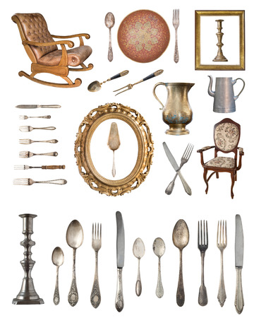 Big set of gorgeous old vintage items. Old dishes, appliances, kettles, chairs, books, silverware, candlesticks, picture frames and other things. Isolated on white background.
