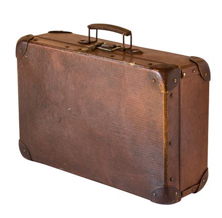 白い背景に隔離された古いみすぼらしいヴィンテージスーツケース。レトロなスタイル 写真素材
